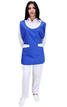 Ρουχα Εργασιας, φορμες εργασιας, στολες  της Μπλούζα γυναικεία αμάνικη δετή με διχρωμία (ΚΩΔ.:1N1033)