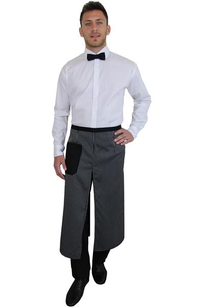 Ρουχα Εργασιας, φορμες εργασιας, στολες  της Ποδιά μισή με σχίσιμο μαύρο ριγέ (ΚΩΔ.1Α1291Β)