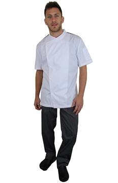 Ρουχα Εργασιας, φορμες εργασιας, στολες  της Σακάκι μάγειρα κοντό μανίκι με ελαστικό ύφασμα στην πλάτη (ΚΩΔ.1S1156W)