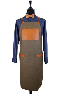Ρουχα Εργασιας, φορμες εργασιας, στολες  της Ποδιά στήθους διπλής όψεως καφέ τζιν (ΚΩΔ.1PSA022)