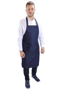 Ρουχα Εργασιας, φορμες εργασιας, στολες  της Ποδιά στήθους τζιν Denim  με διπλή τσέπη (ΚΩΔ:02104)