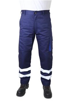 Ρουχα Εργασιας, φορμες εργασιας, στολες  της Παντελόνι εργάσιας με αντ/κες ταινίες & πλαινές τσέπες(ΚΩΔ.:MEX005)
