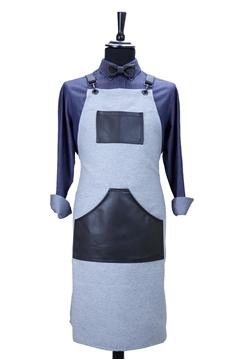Ρουχα Εργασιας, φορμες εργασιας, στολες  της Custom made ποδιά στήθους με δέρμα (ΚΩΔ.:1PSA054)