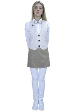 Ρουχα Εργασιας, φορμες εργασιας, στολες  της Ποδιά γιλέκο γυναικεία με ύφασμα print (ΚΩΔ.:1A111PR)