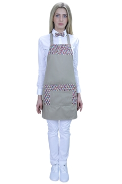 Ρουχα Εργασιας, φορμες εργασιας, στολες  της Ποδιά στήθους γυναικεία με ύφασμα πολύχρωμο print (ΚΩΔ.:1PSG020BE)