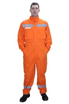 Ρουχα Εργασιας, φορμες εργασιας, στολες  της Φόρμα ολόσωμη βαμβακερή με ελαστικό ύφασμα & ανακλαστικές ταινίες (ΚΩΔ.: ST002OR)