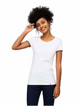 Ρουχα Εργασιας, φορμες εργασιας, στολες  της Γυναικείο T-shirt 155γρ, μανίκια με ρίγες (ΚΩΔ: 03109)