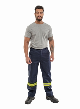 Ρουχα Εργασιας, φορμες εργασιας, στολες  της Παντελόνι εργασίας με δίχρωμη (κίτρινο - ασημί) βραδυφλεγής ταινία  (ΚΩΔ: 52-300-6)