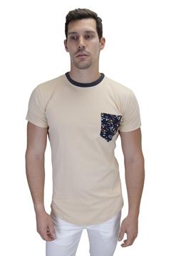 Ρουχα Εργασιας, φορμες εργασιας, στολες  της Ανδρικό t-shirt με φλοράλ τσέπη και διχρωμία στο γιακά (ΚΩΔ: NEW003)