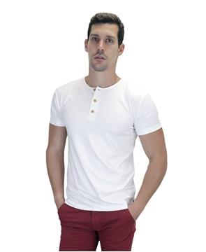 Ρουχα Εργασιας, φορμες εργασιας, στολες  της Ανδρικό t-shirt με κουμπιά στη λαιμόκοψη (ΚΩΔ: NEW001)
