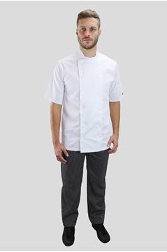Ρουχα Εργασιας, φορμες εργασιας, στολες  της Σακάκι μάγειρα 100% βαμβάκι με κοντό μανίκι (ΚΩΔ: C774)