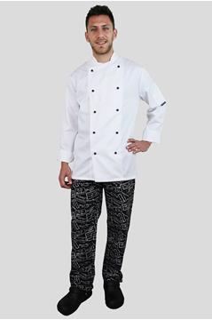 Ρουχα Εργασιας, φορμες εργασιας, στολες  της Μπλούζα μάγειρα σταυρωτή με περαστά κουμπιά (ΚΩΔ: C834W)